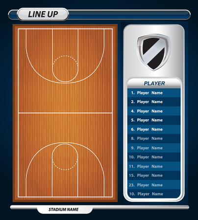 Basketball Player Lineup and Basketball court with Set of infographic elements
