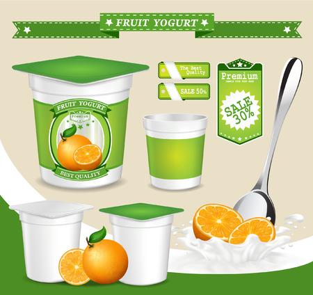 Vector. Achtergrond voor het ontwerp van de verpakking yoghurt met fotorealistische vector van Fruit.
