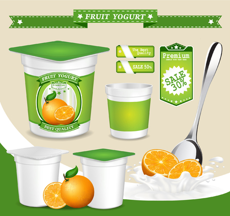 Vector. Background for design of packing yogurt with photo-realistic vector of Fruit.