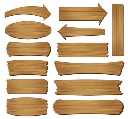dřevěný: Staré dřevěné prkno na bílém pozadí, vektorové ilustrace