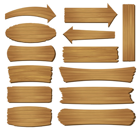 tablero: Tablón de madera vieja aislado sobre fondo blanco, ilustración vectorial