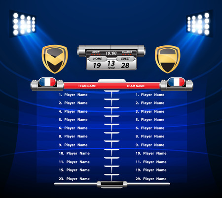 defensive: American Football field with set of infographic elements