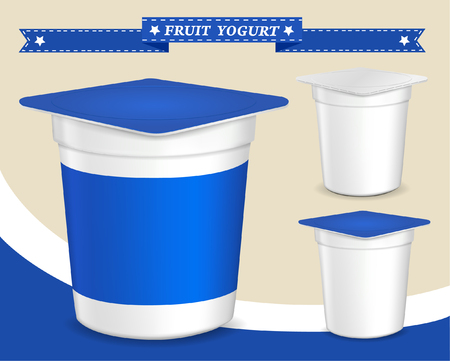 yogurt: plastic container for yogurt yogurt dessert, yogurt container, design of packing yogurt, food plastic container, design of packing yogurt Illustration