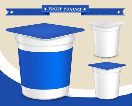 packing: plastic container for yogurt yogurt dessert, yogurt container, design of packing yogurt, food plastic container, design of packing yogurt Illustration