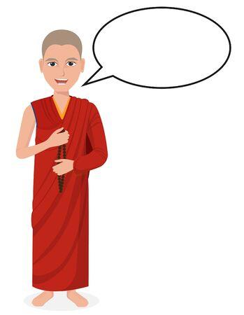 Tibetan Buddhist monk with speech bubble Ilustração