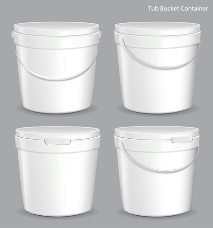 paint container: White Tub Paint Plastic Bucket Container. Plaster, Putty, Toner. Ready For Your Design. Product Packing Vector EPS10 Illustration