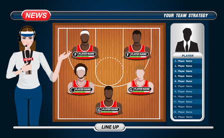 position: Basketball Player Lineup and Basketball court with Set of infographic elements