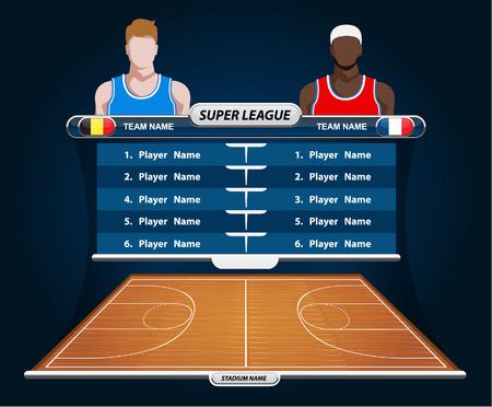shadow match: Basketball Player Lineup and Basketball court Illustration