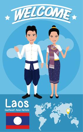 banderas del mundo: Conjunto de 20 hombres y mujeres de Asia en traje tradicional con la bandera, formato vectorial eps10 Vectores