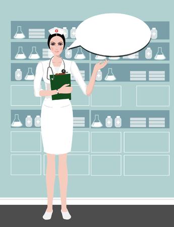 pielęgniarki: Młoda pielęgniarka słodkie dostarczanie informacji z uśmiechem na dymka opieki background.Health, pielęgniarka kapelusz, pielęgniarki kreskówki. na białym. Clipping maska jest używana w pliku EPS.