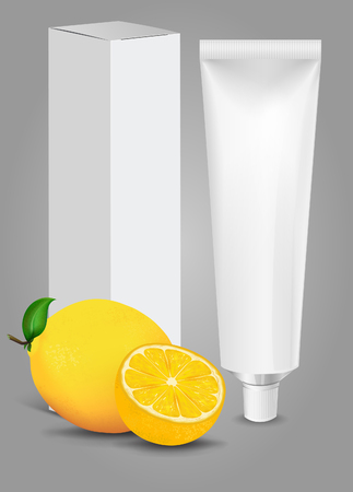 aftershave: Tube Of Toothpaste, Cream Or Gel with box and Fruit. Ready For Your Design. New Product Packing Vector EPS10