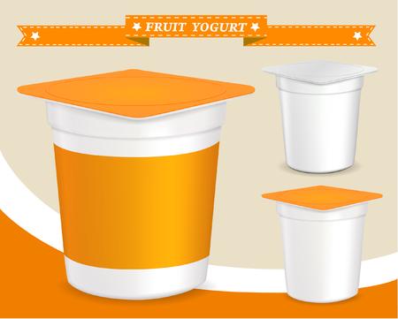 plastic container: plastic container for yogurt yogurt dessert, yogurt container, design of packing yogurt, food plastic container, design of packing yogurt Illustration