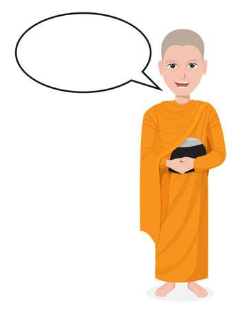 thai monk: Cartoon Thai Monk with speech bubble vector Illustration