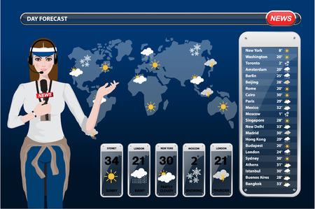 meteo: Una illustrazione vettoriale di un televisore tempo giornalista sul posto di lavoro
