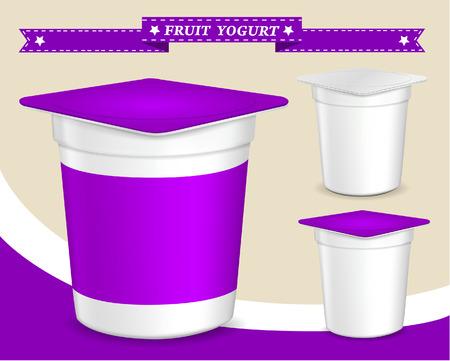 jams: plastic container for yogurt yogurt dessert, yogurt container, design of packing yogurt, food plastic container, design of packing yogurt Illustration
