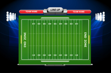 football player: American Football field with set of infographic elements