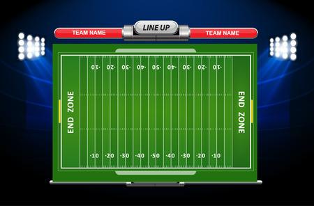 campeonato de futbol: Campo de fútbol americano con el conjunto de elementos infográficos