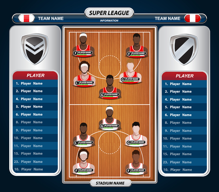 tournament chart: Basketball Player Lineup and Basketball court with Set of infographic elements