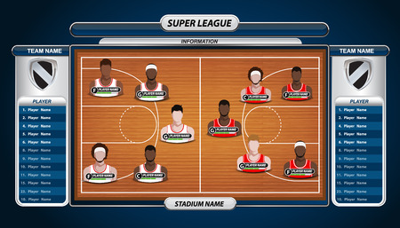 interface: Basketball Player Lineup and Basketball court with Set of infographic elements