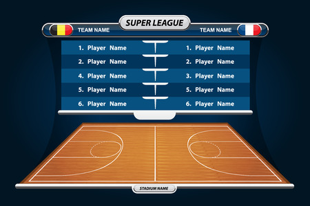 floor ball: Basketball Player Lineup and Basketball court with Set of infographic elements