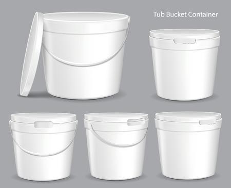 White Tub Paint Plastic Bucket Container. Gips, Putty, Toner. Klaar voor uw ontwerp. Product Verpakking Vector EPS10