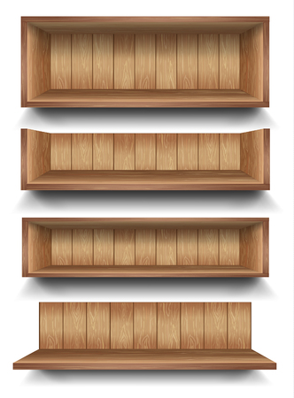 shelves: 3d isolated Empty shelf for exhibit. Vector illustration. Illustration
