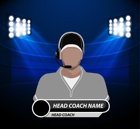 professional football: Football Coach with spotlight Illustration