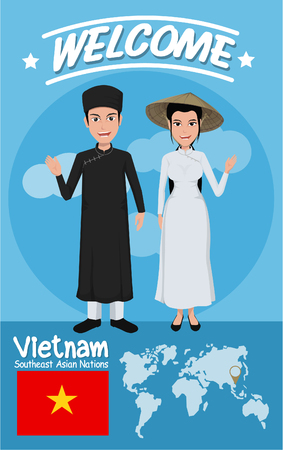 design costume: Set of 20 asian men and women in traditional costume with flag , eps10 vector format