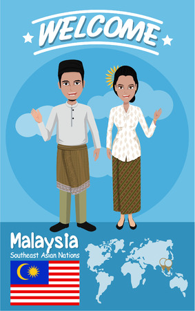 aec: Set of 20 asian men and women in traditional costume with flag , eps10 vector format