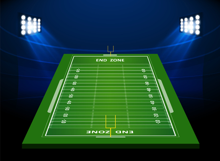 floodlit: American Football field with Spotlight