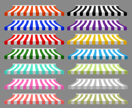 awnings: detailed illustration of set of striped awnings