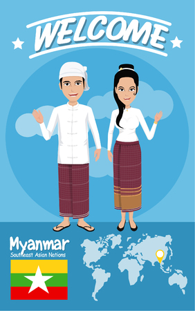 asean: Set of 20 asian men and women in traditional costume with flag , eps10 vector format