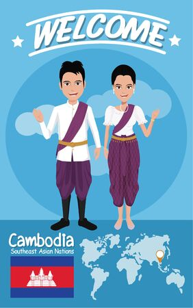 cambodian flag: Set of 20 asian men and women in traditional costume with flag , eps10 vector format
