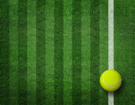 Tennis ball on tennis grass court. 3d render