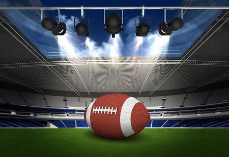 goal post: American Football on light of american football stadium Stock Photo
