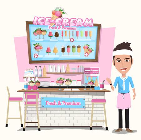 carretto gelati: Crema carrello Ice con il venditore. Progettazione elements.Vector Illustrazione