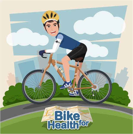 man outdoors: Smiling cartoon man riding on a bike with Park Background . sport and exercise