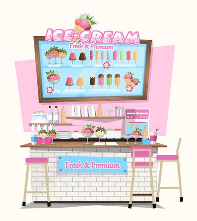ice-cream shop with Design Elements. Flat style illustration. Vector Illustration Imagens - 53048446