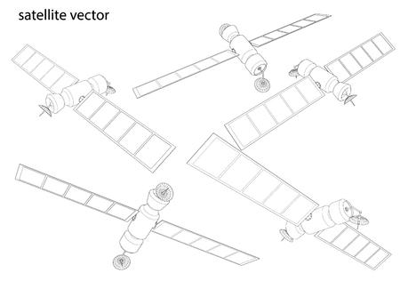 telecommunications technology: Satellite communications. wireframe vector Illustration