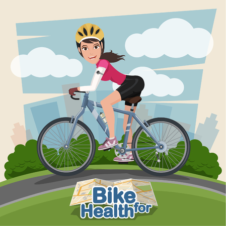pump shoe: Smiling cartoon woman riding on a bike with park background . sport and exercise Illustration