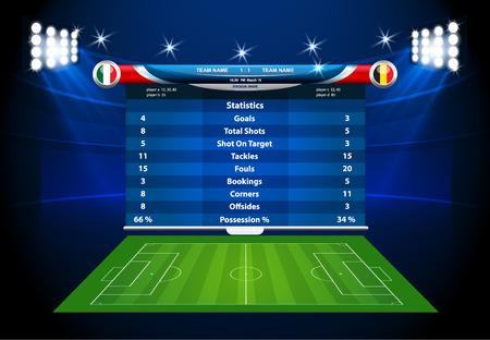 terrain de foot: Statistiques sur le terrain de football graphique info vecteur. Illustration