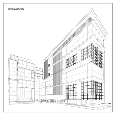 architectures: Perspective 3D render of building wireframe