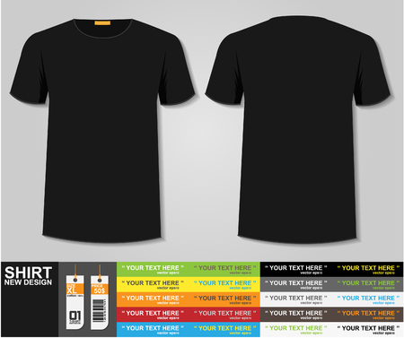 casual dress: Blank t-shirt template. Front and back