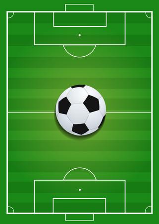 Soccer ball on Soccer field - Sport background - Vector illustration