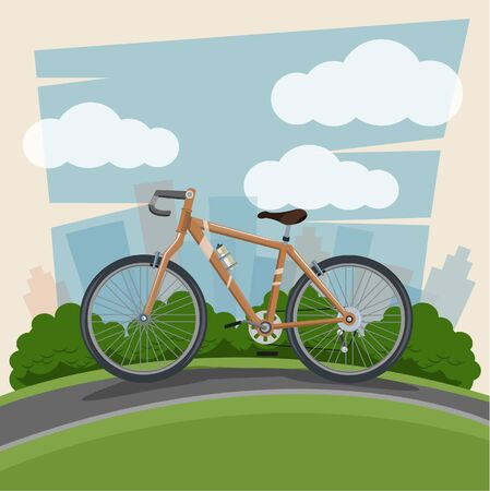 Ride a bike. Bicycle and Landscape background. Vector illustration.