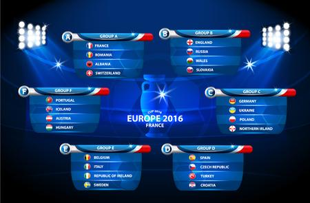 Eurocopa de fútbol 2016 en Francia grupos de vectores Ilustración de vector