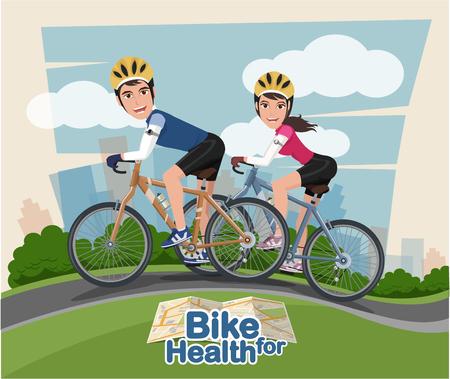 Smiling cartoon man and woman riding on a bike with park background. Flat style. Ilustração