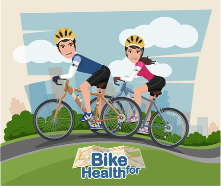 biking glove: Smiling cartoon man and woman riding on a bike with park background. Flat style. Illustration