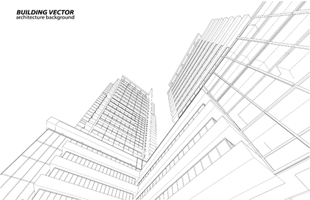 architectural design: Abstract 3D Wireframe of Building. My Sketch Design Illustration