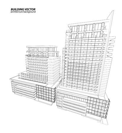 Abstract 3D Drahtmodell Des Gebäudes. Mein Skizze-Entwurf Lizenzfrei ...